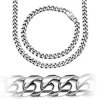 Miami Cuban Link Sterling Silver 6.19mm Chain, Necklace or Bracelet, Solid & Heavy, Platinum Plated, Hand Made in Italy, Secure LinxLock Design
