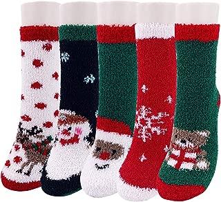 Christmas Fuzzy Socks,5 Pairs Slipper Santa Fluffy Socks Women,Holiday Cute Cozy Socks XMAS Socks