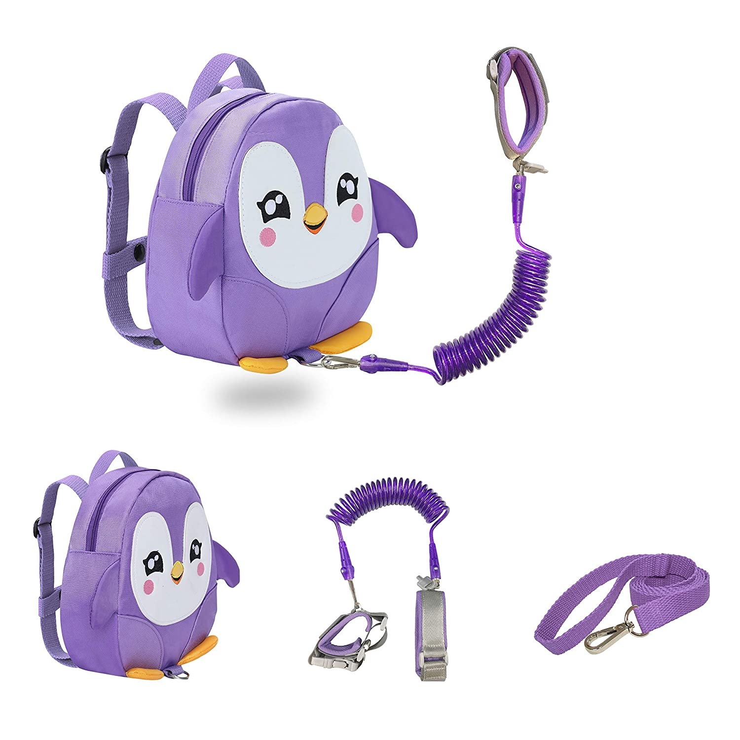 JIANBAO Penguin Toddler Backpacks with Leashes Anti Lost Wrist Link for 1.5 to 3 Years Kids Girls Boys Safety (Penguin, Purple)