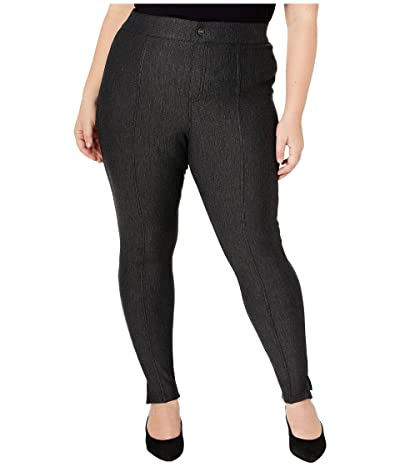 HUE Plus Size Pintucked Tweed 7/8 Leggings (Black) Women