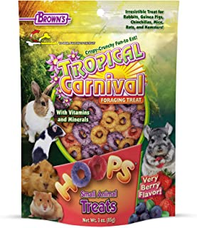 F.M. Brown's Tropical Carnival Hoops Small Animal Treats, 3-oz Bag - Vitamins and Minerals for Rabbits, Guinea Pigs, Chinc...