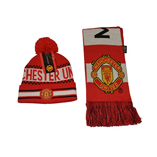 9f8d046647f Manchester United Set Beanie Red Reversible Skull Cap Hat and Scarf  Reversible
