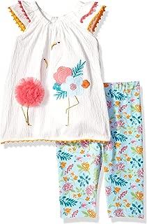 Mud Pie Baby Girls Flamingo Flutter Sleeve Tunic and Capri 2 Pc Playwear Set