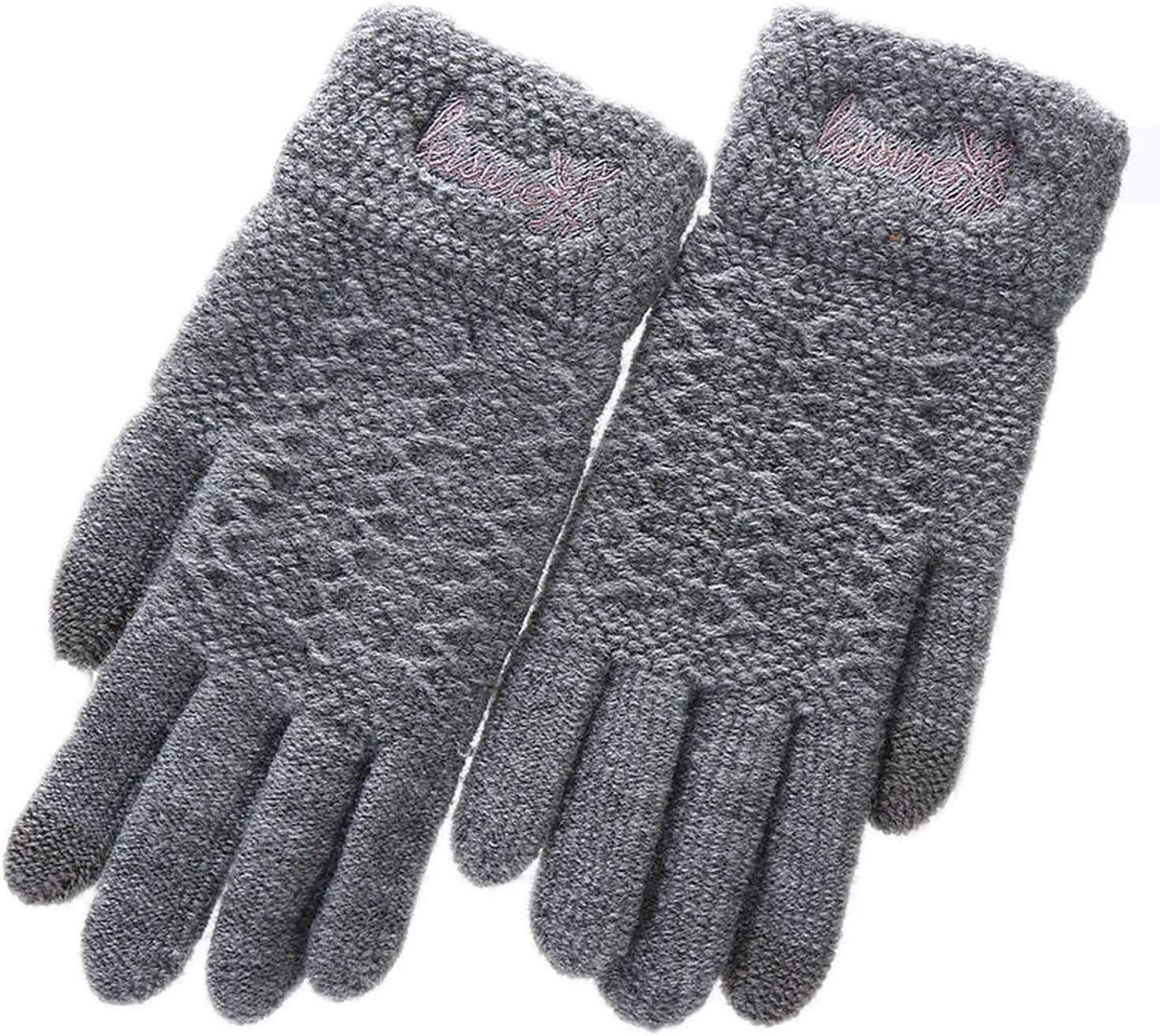 Samantha Warm Gloves Ladies Winter Warm Cute Cartoon Finger Knit Touch Screen Gloves Women Full Finger Soft Mittens Black Gloves (Color : E Gray, Size : Oneszie)