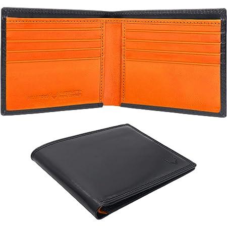 Pelle Toro Minimalist Mens Wallets Leather, Handmade Wallet Mens, RFID Blocking Wallet, Slim Card Wallet for Men, 10 Credit Card Holder Slots, Real Men Leather Wallet, Mens Gifts Box, Black & Orange