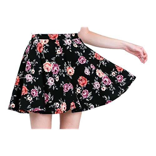 Ladies Swing Skater Skirt Floral Printed Stretchy High Waisted Womens Mini Skirt