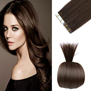 18 inches Remy Tape in Human Hair Extensions Full Cuticle Virgin Hair Straight Tape Hair 50g 20pcs Color No.2 Darkest Brown