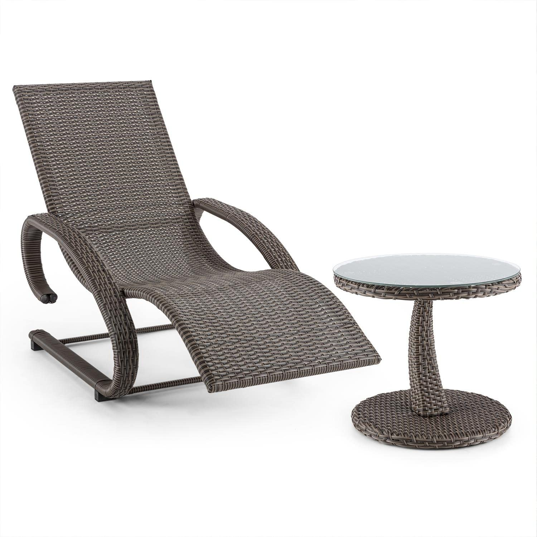 Blaumfeldt Daybreak Schwingliege Gartenliege + Beistell-Tisch Set (Freischwinger, mit Armauflagen, 100 kg max. Belastung, Glasplatte, 50 cm Durchmesser, Korbflechtoptik) braun