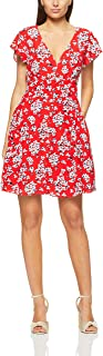 French Connection Women's Micro Floral Tea Dress, Red/Multi