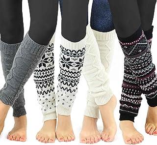 TeeHee Gift Box Women's Fashion Leg Warmers 4-Pack Assorted Colors