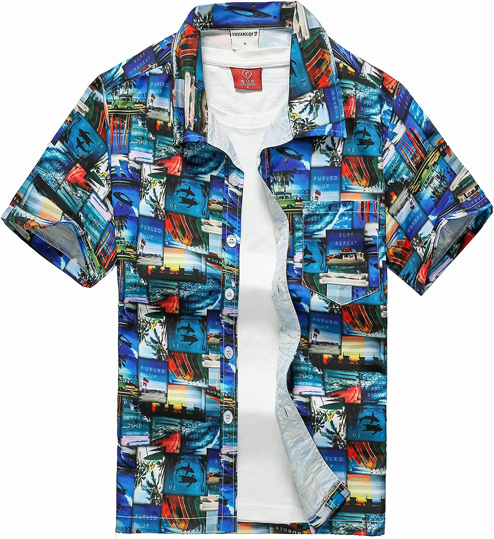 Lu's Chic Men's Short Sleeve Shirt Hawaiian Beach Shirts Button Down Aloha Collared Casual