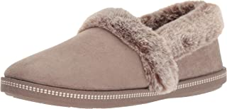 Skechers Women's Cozy Campfire-Team Toasty-Microfiber Slipper with Faux Fur Lining, Dark Taupe, 5.5 M US