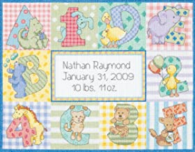 Dimensions Cross Stitch Craft Kit Zoo Alphabet Birth Record Personalized Baby Gift, 14 Count White Aida, 12