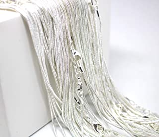 18 Inch Snake Chains Pack of 10 - Sterling Silver 925 Snake Chains Bulk - Sterling Silver Plated Chains for Jewelry Making - Top Quality USA Seller Maddie`s Pearls (18 Inch, 10 Chains)