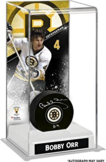 Bobby Orr Boston Bruins Autographed Puck with Deluxe Tall Hockey Puck Case - Fanatics Authentic Certified