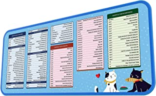 INPHIC拡張マウスパッドデスクパッド、ほつれ防止布と耐水性、ショートカットキー付き大型マウスパッドキーボードマットホットキー、オフィスでの作業やゲームに便利(青)