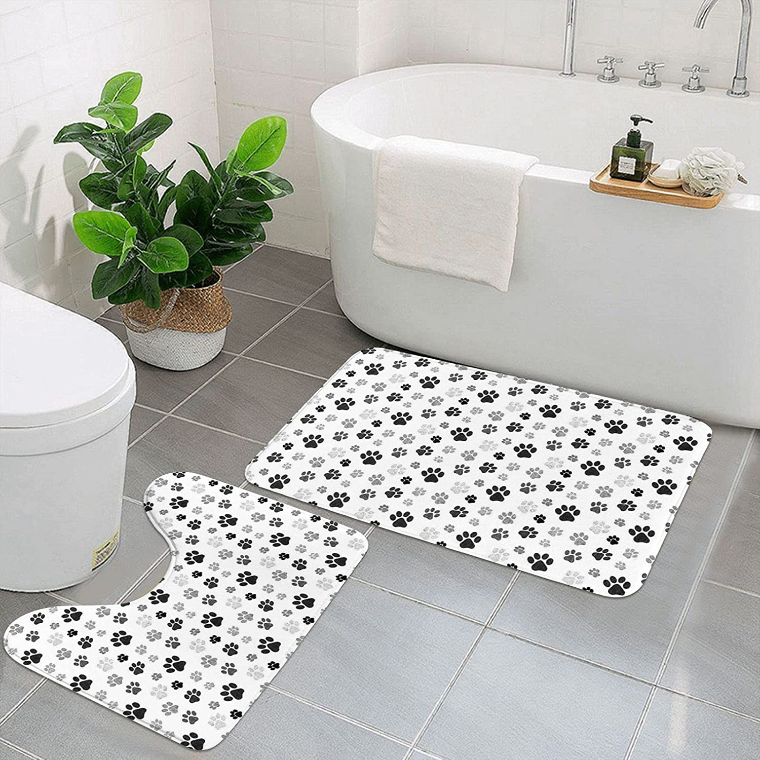 Max 73% OFF Dog Paw Bathroom Rugs and Mats Set Max 64% OFF Non-S U 2 Toilet Shape Pieces