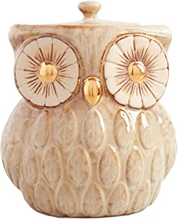 Vintage Gold Metallic Cookie Jar - Sweet Cookie Jar | Reactive Glaze Owl Inspired Cookie Jar | Farmhouse Look - Storage for Flour, Sugar, Tea, Coffee, Cookies, and Candies | 104 Ounce