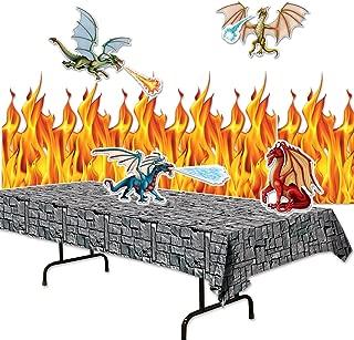 FAKKOS Design Dragon Party Supplies Decor Set - Flame Backdrop, Stone Table Cover, Dragon Cutouts