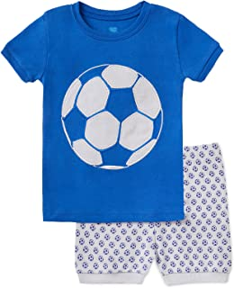 Image of Blue Short Sleeve Soccer Short Pajamas of Boys and Toddlers