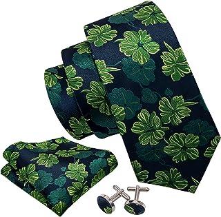 Barry.Wang Tie Pocket Square Cufflinks Necktie Set Flower Woven Ties for Men Wedding Party