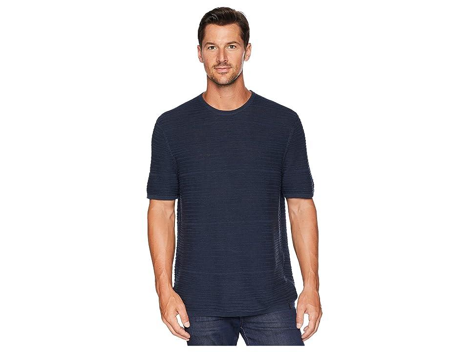Calvin Klein Texture Stripe Linen T-Shirt (Cadet Navy) Men
