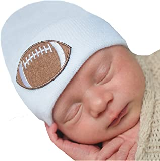 Newborn Hospital Hat White - 2 ply Hospital Fabric - Infant Baby Boy Cap with Cute Football