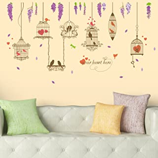 Amazon Brand - Solimo Wall Sticker for Living Room (Lovebirds, Ideal Size on Wall: 170 x 93 cm)