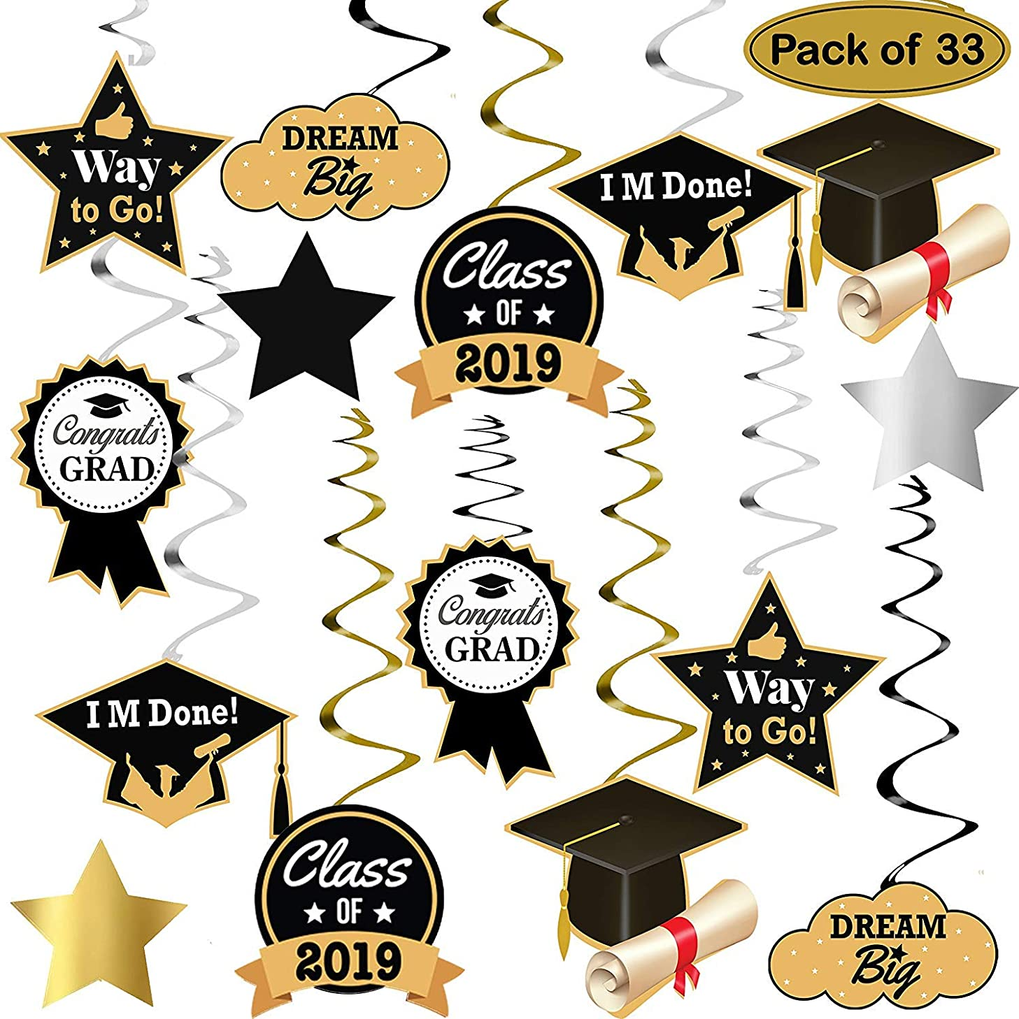 Graduation Hanging Decorations Swirls Kit - Big Pack of 33 | Beautiful Hanging Ceiling and Door Decoration for Graduation Party Supplies 2019 | Graduation Decorations for High School Prom Grad Party