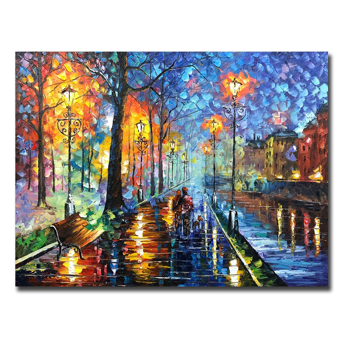 V-inspire art, 30x40 inch, Modern Impressionist Hand painted Streets at night oil paintings on canvas wall art Direct hanging in living room bedroom kitchen and bathroom decoration