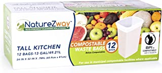Compostable & Biodegradable Tall Kitchen Trash Bags   Garbage & Waste   BPI Certified   Leak & Odor Control   Strong & Durable   Large, 13 Gallon   12 Bags per Box