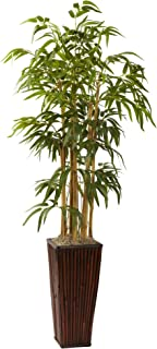 Nearly Natural 4ft. Bamboo with Decorative Planter Artificial Plant, Green