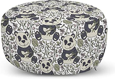 Lunarable Panda Ottoman Pouf, Funny Bear Animal Sitting Among Jungle Foliage Playful Exotic Animal Print, Decorative Soft Foot Rest with Removable Cover Living Room and Bedroom, White and Multicolor