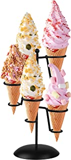 Black Iron Ice Cream Cone Holder Stand With Base 5 Holes to Display Snow Cones Sushi Hand Rolls Popcorn Candy French Fries Sweets Savory