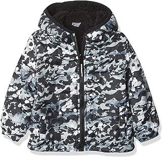 LONDON FOG Boys' Big Fleece-to-Poly Jacket, Grey CAMO Reversible, 4