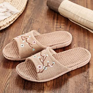 YAOLUU Summer Slippers Zapatillas Bordadas for Mujer Sandalias de Hombre de Lino Transpirable Zapatos Planos Ocasionales D...