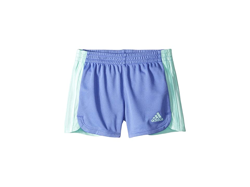 Image of adidas Kids 3 Stripe Blocked Shorts (Toddler/Little Kids) (Blue Lilac) Girl's Shorts