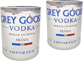 Handmade Grey Goose Vodka Bottle Upcycled Old Fashioned Glass Set