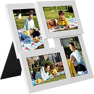 SONGMICS Collage de 4 Marcos para Fotos DE 10 x 15 cm, Portafotos de Madera con Vidrio, Colgar en la Pared, para Hogar, Oficina, Galería, Blanco RPF25WT