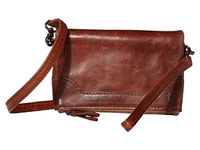 Frye Melissa Leather Stadium Bag Crossbody (Cognac) Cross Body Handbags