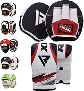 RDX Boxing Pads and Gloves Set | Hook & Jab Target Focus Mitts with Punching Gloves | Hand Pads for MMA, Muay Thai, Kickboxing, Martial Arts, Karate Training | Padded Coaching Strike Shield