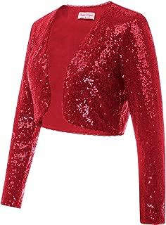 Women's Sequin Jacket Long Sleeve Open Front Glitter Cropped Blazer Bolero Shrug S-XXL