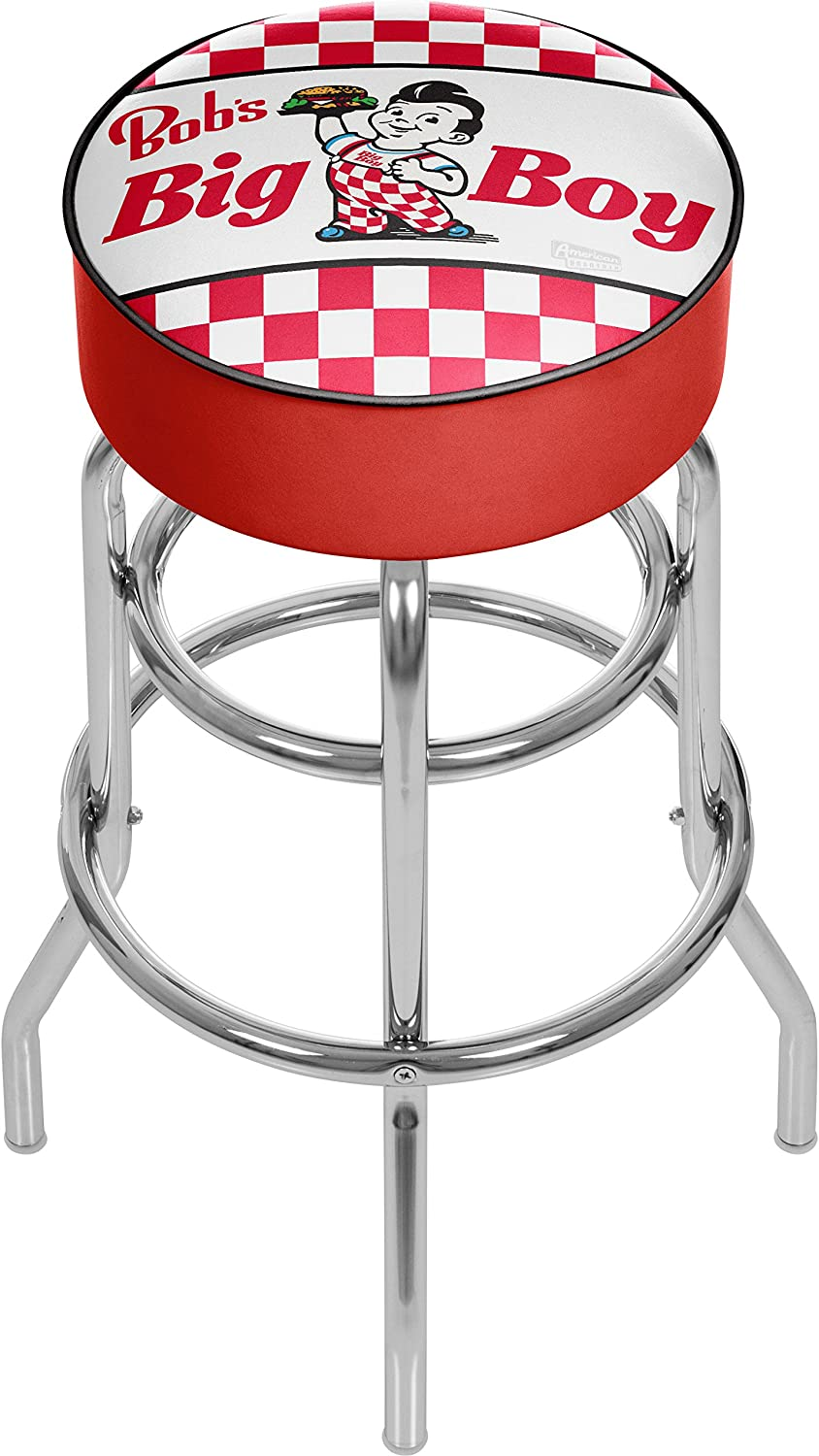 Trademark Global Bobs Big Boy Checkered Padded Swivel Bar Stool