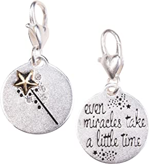 Amanda Blu Fairy Godmother Charm Believe | Even Miracles Take a Little Time | Silver 2-Tone Medallion | Women