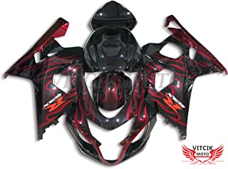 VITCIK (Fairing Kits Fit for Suzuki GSX-R750 GSX-R600 K4 2004 2005 GSXR 600 750 K4 04 05 Plastic ABS Injection Mold Complete Motorcycle Body Aftermarket Bodywork Frame (Red & Black) A001