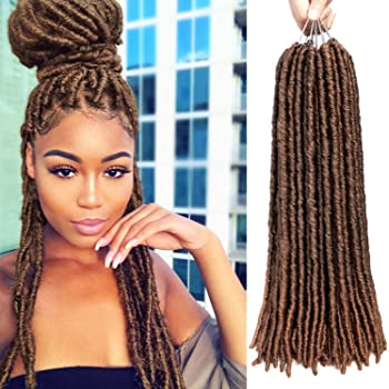 "7 Packs Faux Locs Hair Ombre Soft Dreadlocks Crochet Hair Straight Goddess Locs Synthetic Braiding Hair Extensions (18""-7pack, 1B-30)"