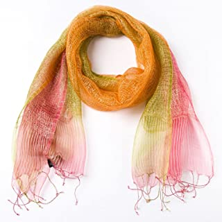 PAPYRUS BY NIQUEA.D Orange & Green Shimmering Weave Scarf