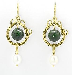 Orecchini Giara Perle ottone goccia pendenti fatti a mano artigianali donna regalo pietre dure lunghi