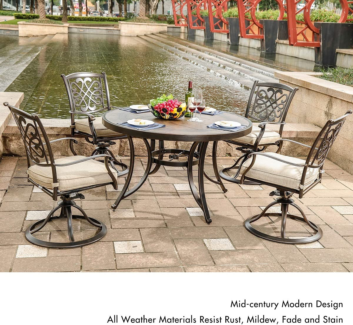 dali Outdoor 10 Piece Dining Set Patio Furniture, Deep Cushioned Aluminum  Swivel Rocker Chair Set with 10 inch Round Crafttech Top Aluminum Table