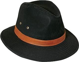 Dorfman Pacific Men's One-Piece Canvas Faux Leather-Trim Safari Hat